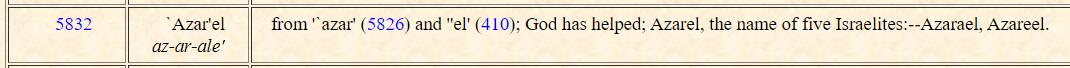 عزرايلأيضاً معناها( الله يساعد ) `Azar'el from '`azar' and ''el' God has helped